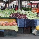 Fresh fruit and vegetables are displayed on a stall on a cold December day at Ljubljana's Central fruit and vegetable market.